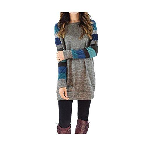 modo Donne Collo di Koly manica T O allentato giunzione lunga casuale Blu di shirt HFwdnqdE