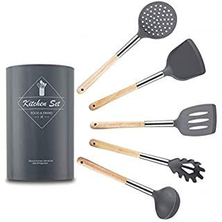 Zeattain 6PCS Silicone Utensils Kitchen Tools - Silicone Cooking Utensils Set Non-stick and Heat Resistant Kitchen Utensil Set Spatula Set - Silicone Utensils for Cooking Salad Tongs