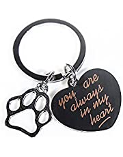 Dog Cat Pet Memorial Gifts Keychain for Pet& Lover, Remembrance Jewelry Gifts for Loss of Pet, Sympathy Condolences Gifts, Pet Keepsake Key Ring for Men, Women& Owner