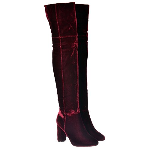 Black Over Stretch Women's Thigh The Onlineshoe Suede High Knee Wine Suede Heeled Boot Grey EqzwaBx6gB