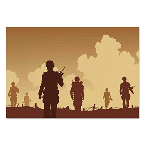 Large Wall Mural Sticker [ War Home Decor,Soldier Shadows with Military Costumes and Weapons Walking on Patrol Print,Brown Cream ] Self-Adhesive Vinyl Wallpaper/Removable Modern Decorating Wall Art