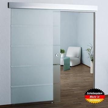 Ganzglasschiebetür teilsatiniert - 900x2050x8mm - SO6  Glastür/Glasschiebetür/Schiebetür, DIN Links