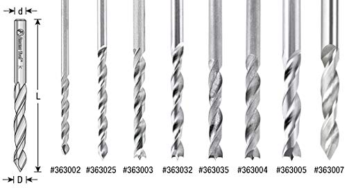 Amana Tool 363005 Solid Carbide Drill Bit R//H 5mm Dia x 55mm Long x 5mm Shank