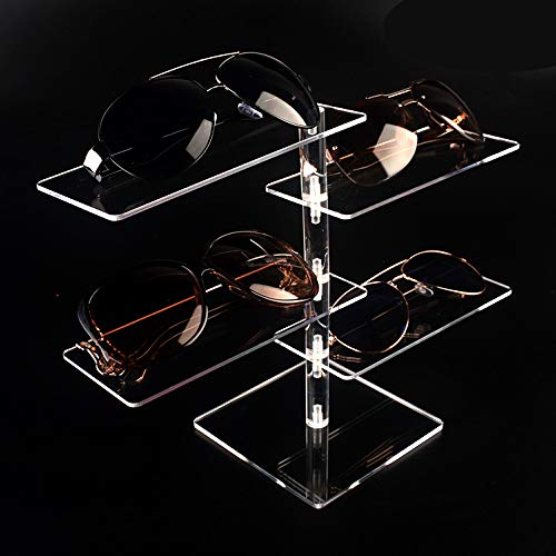 Lanscoe Acrylic Eyeglasses Sunglasses Display Case Organizer Box Eyewear Rack Holder 4 Tier Storage Tray for Men Women Store Exhibit Presentation Showcase