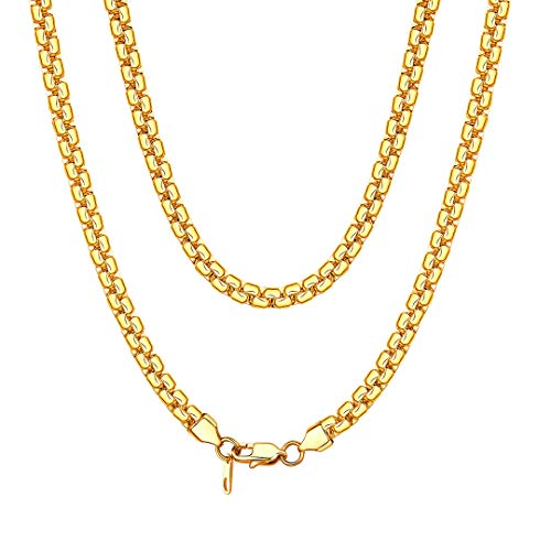 ChainsHouse 18K Gold Plated Hip Hop Box Chain for Men Italian Necklace 24