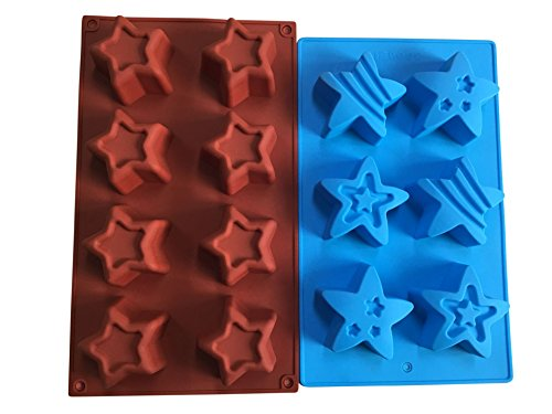 (2 Star Shaped Silicone Molds - Patriotic Party Stars Soap Mold - Bath Bombs Cake Baking Jello - 4th of July Holiday Shapes - by Jolly Jon)