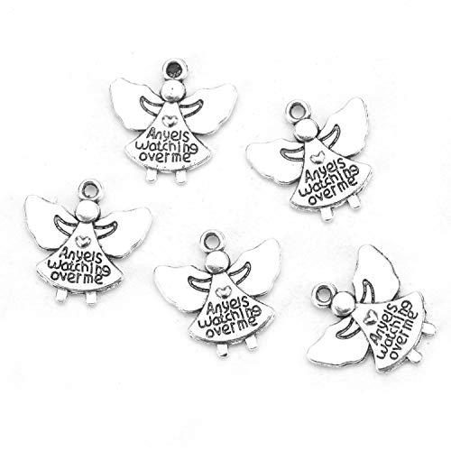 Monrocco 100Pcs Tibetan Silver Plated Girl Angel Charms Pendants for Jewelry Making and Crafting