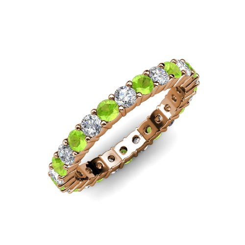 Peridot and Diamond Common Prong Eternity Band 2.16 ct tw to 2.59 ct tw in 14K Rose Gold.size 8.5 (Band Diamond Tw 2ct Eternity)