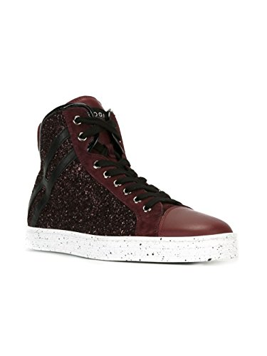 HOGAN REBEL HI TOP SNEAKERS DONNA HXW1820I651DYF357E GLITTER BORDEAUX