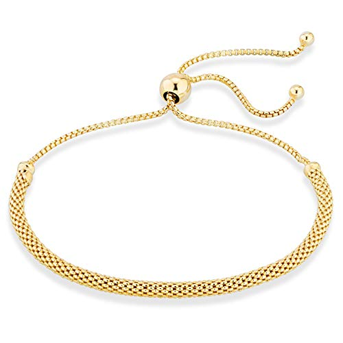 MiaBella 925 Sterling Silver Adjustable Bolo 3mm Mesh Chain Bracelet for Women Your Choice White or Yellow (Yellow-Gold-Plated-Silver)
