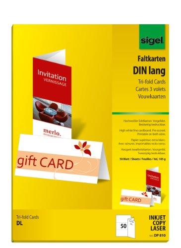 Sigel DP810 Tri-fold Cards, bright white, DL (A4), 50 -