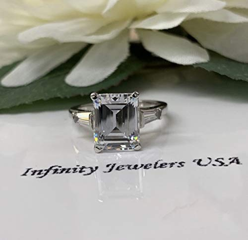 Emerald cut with baguette sides engagement ring
