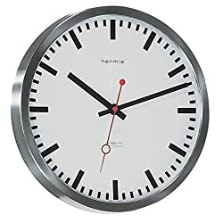 Qwirly Store: Grand Central Train Station #30471002100 Quartz Wall Clock by Hermle - Large Decorative Hanging Round Stainless Steel Clock for Home and Office