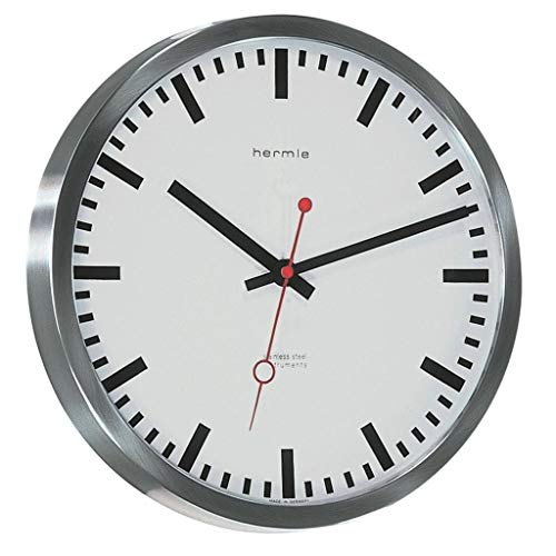 Train Mini Clock - Qwirly Store: Grand Central Train Station #30471002100 Quartz Wall Clock by Hermle - Large Decorative Hanging Round Stainless Steel Clock for Home and Office