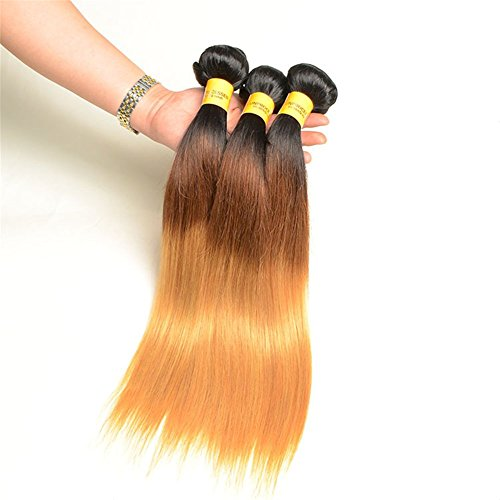 Remeehi Brazilian Virgin Silk Straight Hair Weft Real Human Hair Extensions Ombre Human Hair Weft(28