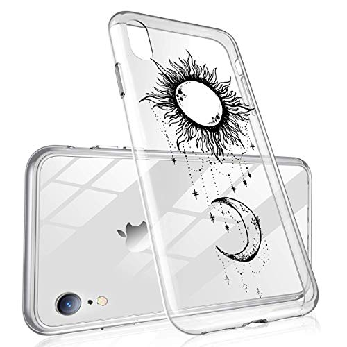 (Heaofei Case for iPhone XR, Moon and Sun Clear Design Transparent TPU Bumper Protective Case Cover for iPhone XR)