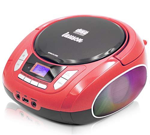 Lauson NXT962 Draagbare CD-Speler met meerkleurige LED-Verlichting Geïntegreerde Luidsprekers | Boombox Digitale FM…