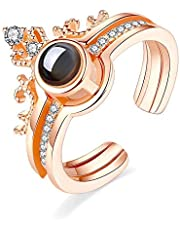 100 Languages Two Parts Ring - Gold