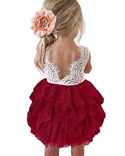 Topmaker Backless A-line Lace Back Flower Girl Dress (5Y, Wine red)