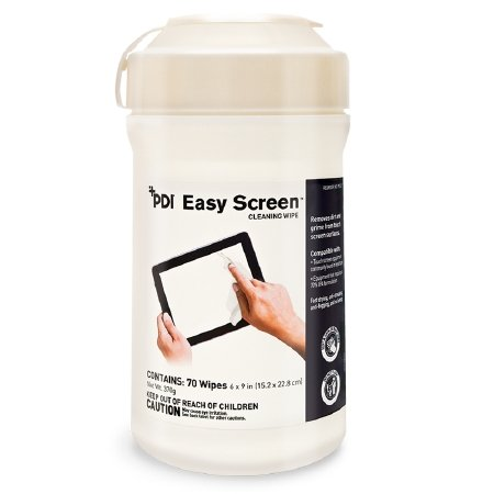 Pdi Easy Screen Cleaning Wipes, 9 X 6, White, 70/canister, 12/ctn