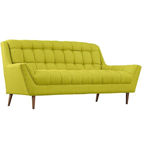 Modway Response Mid-Century Modern Loveseat Upholstered Fabric in Wheatgrass