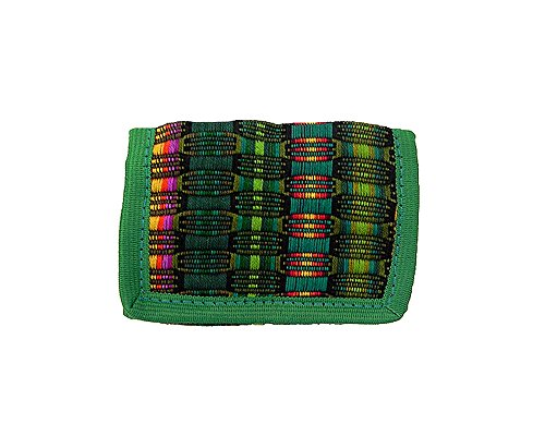 Multicolored Woven Striped Pattern Soft Lightweight Trifold Wallet with Zipper Coin Pocket and Credit Card Slots (Green)