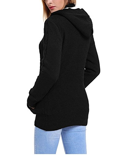 trecce pulsante Fengshang la Donna con a maglione Cardigan pile cappuccio Black cappotto giù G in ndXfSqa1SW