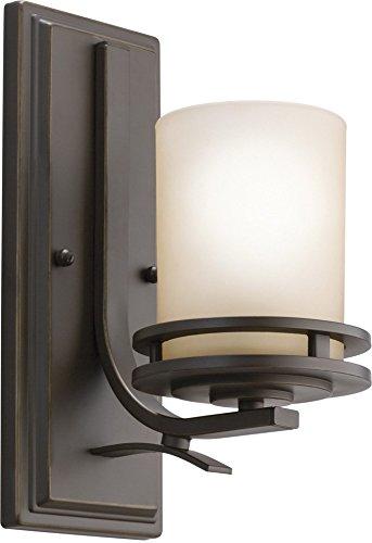 (Kichler 5076OZ Hendrik Wall Sconce, 1 Light Incandescent 100 Watts, Olde Bronze)