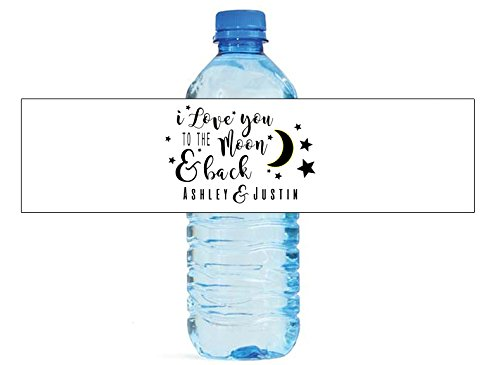 I Love You To The Moon and Back Wedding Water Bottle Labels Anniversary Party