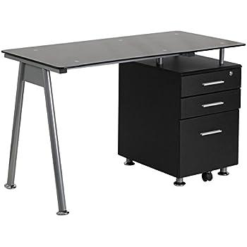 Amazon Com Flash Furniture Black Glass Computer Desk With
