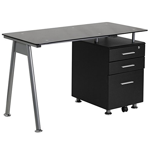 Flash Furniture Black Glass Computer Desk with Three Drawer Pedestal Black Glass Computer Desk