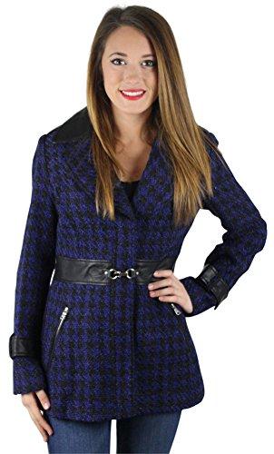 Herringbone Belted Jacket (Jessica Simpson Women's Houndscheck Lapel Notched Coat Blue Size M)