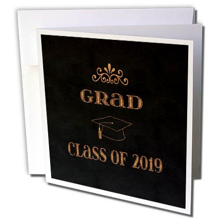 - 3dRose Beverly Turner Graduation Design - Caulk-broad Style Design, Class of 2019, Graduation Cap, Orange - 12 Greeting Cards with envelopes (gc_262832_2)