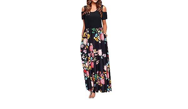Ptyhk RG Womens Fashion Off Shoulder V Neck Warp Solid Color Maxi Dress