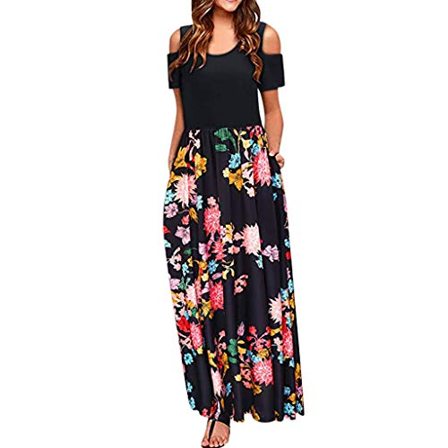(TnaIolral Women Dresses Cold Shoulder Summer Floral Print Elegant Maxi Short Sleeve Skirt Black)