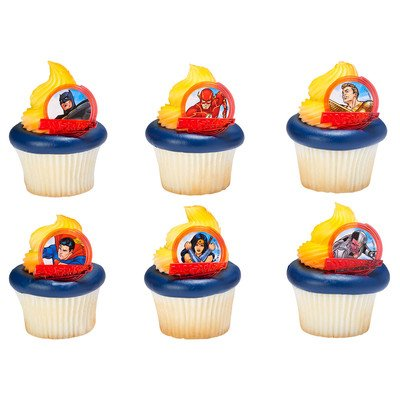 Justice League Brave & Bold Cupcake Rings - 24 pc