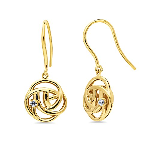 Yellow Gold Flashed Sterling Silver Cubic Zirconia CZ Rose Flower Fish Hook Dangle Drop Earrings
