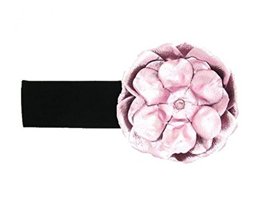 Jamie Rae Hats Black Soft Headband with Metallic Pale Pink Rose, Size: 12m+