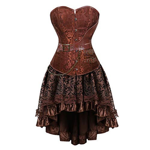 Zhitunemi Women Halloween Costume Gothic Victorian Corsets Burlesque Dresses Moulin Rouge Brown 6X-Large -