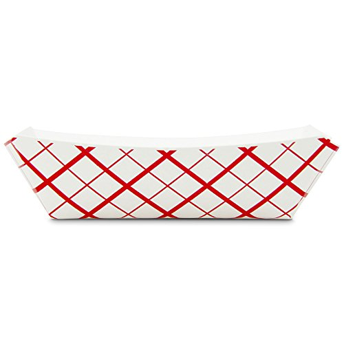 2 lb Heavy Duty Disposable Red Check Paper Food Trays Grease Resistant Fast Food Paperboard Boat Basket for Parties Fairs Picnics Carnivals, Holds Tacos Nachos Fries Hot Corn Dogs [250 Pack] by Fit Meal Prep (Image #2)