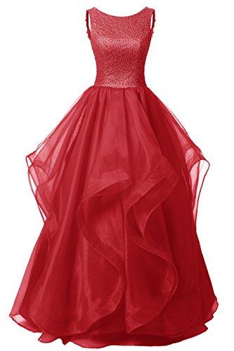 DRESSTELLS Long Prom Dress Asymmetric Ball Gown Evening Gown Beads Organza Gown Dark Red Size 2
