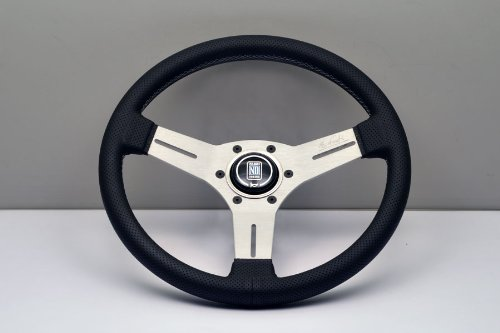(Nardi Steering Wheel - Competition - 330mm (12.99 inches) - Black Perforated Leather with Grey Stitching - White Anodized Spokes - Classic Horn Button - Part # 6070.33.1091)