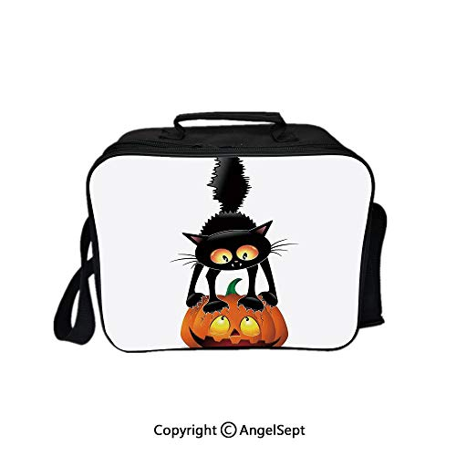 Multifunctional Lunch Bags for Women Wide Open,Black Cat on Pumpkin Spooky Cartoon Characters Halloween Humor Art Orange Black 8.3inch,Lunch Box With Double Deck Cooler Tote Bag ()