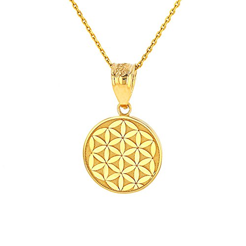 Dainty 14k Yellow Gold Flower Of Life Sacred Geometry Pendant Necklace, 18
