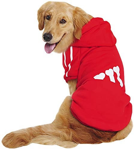 ChezAbbey Large Dog Hoodie Clothes Sweatshirt with Hood for Husky Teddy Akita Red 9XL