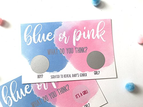10 GIRL Gender Reveal Party Scratch Off Cards - Blue or Pink What Do You Think? -
