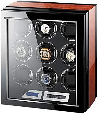 時計ワインダー9時計、高品質の超静かな動きピアノ塗料と高密度パイン木材リモートコントロールの