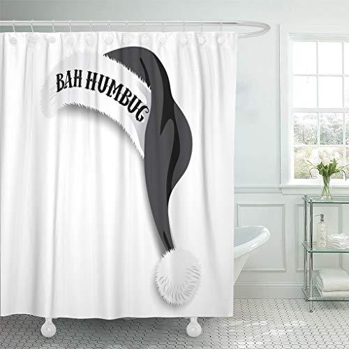 Emvency Waterproof Fabric Shower Curtain Hooks Red Cap Bah Humbug Black Santa Claus Hat Ebenezer Scrooge Catch Phrase Cartoon 72