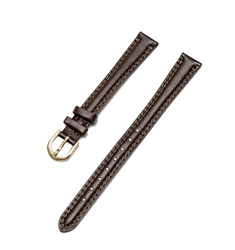 Timex Women's Padded Double Stitched Calfskin Leather 13mm XL Long Dark Brown Replacement Watchband