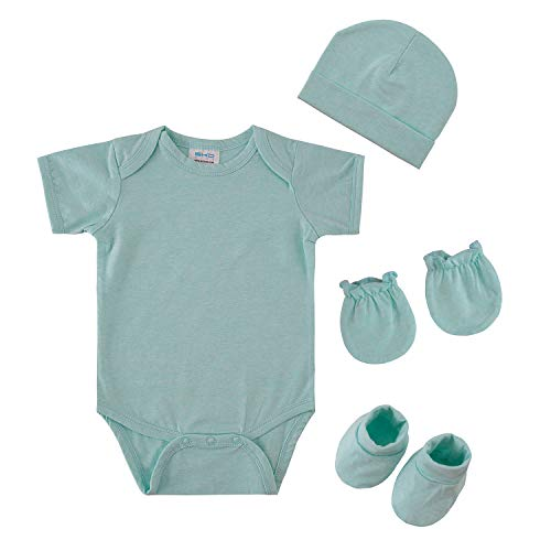 Onesie Booties Cap - Baby Clothes Set Bodysuit Onesie with Caps Booties and Gloves Soft Combed Cotton (0-6 mos, Bue)